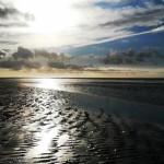 Das Wattenmeer bei Amrum im Sonnenschein.
