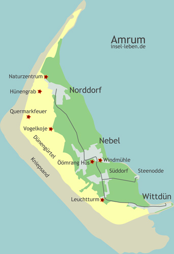 Die Karte der Insel Amrum - mit den Ortschaften, Hauptstraßen und Sehenswürdigkeiten.